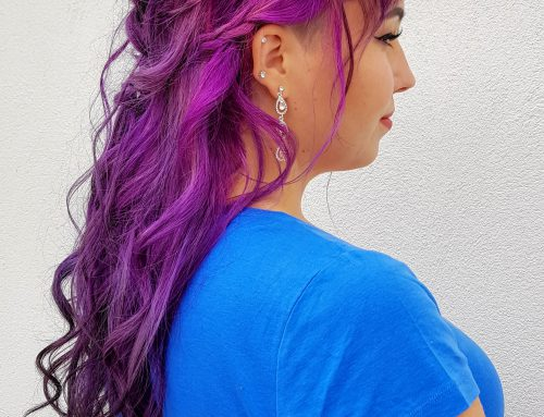 Half updo and crazy color